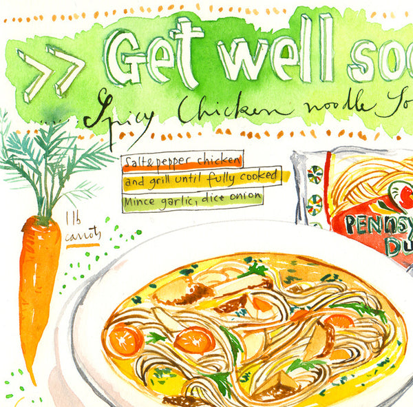 GET WELL SOON ! Spicy chicken noodle soup recipe print