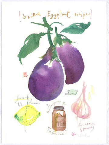 Grilled eggplant illustrated recipe. Original watercolor painting