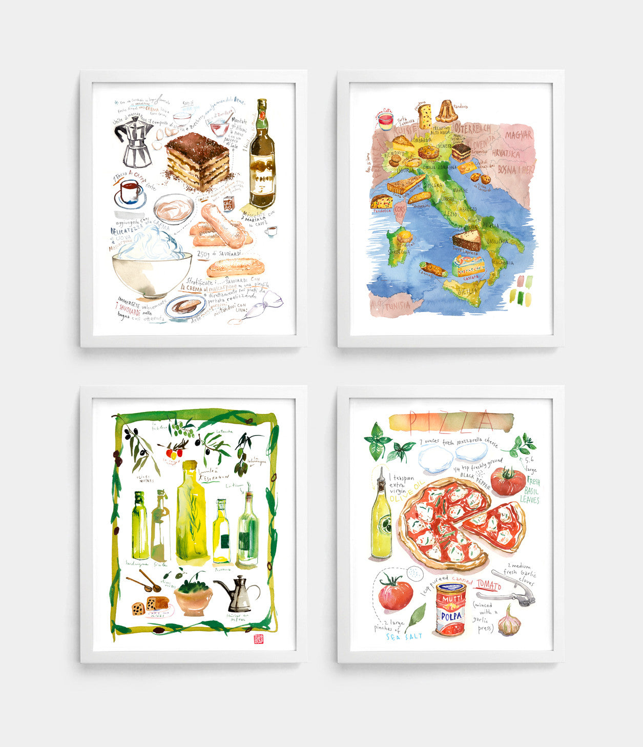 Set of 4 Italian food prints.
