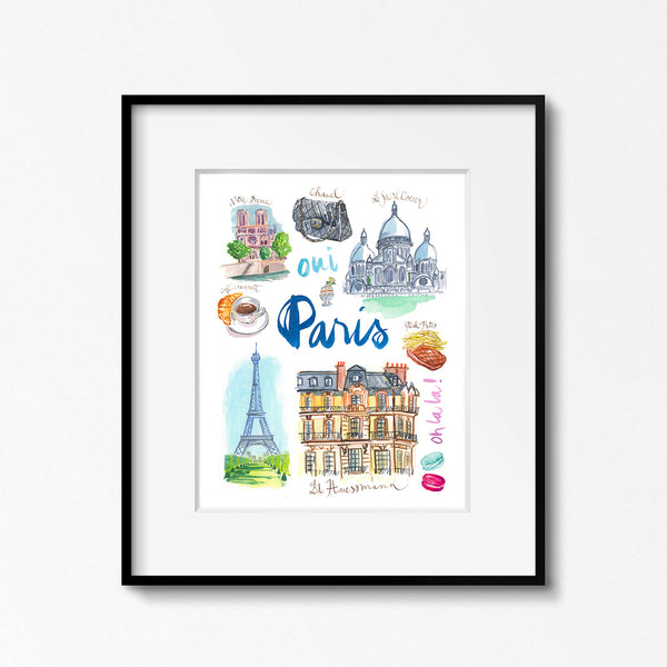 Paris watercolor poster