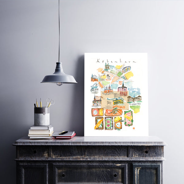 Copenhagen watercolor map with smorrebrod