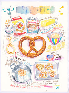 Pretzel recipe. Original watercolor painting