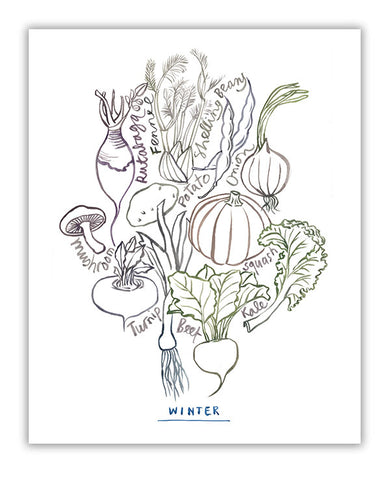 Neutral wall art - Winter vegetables