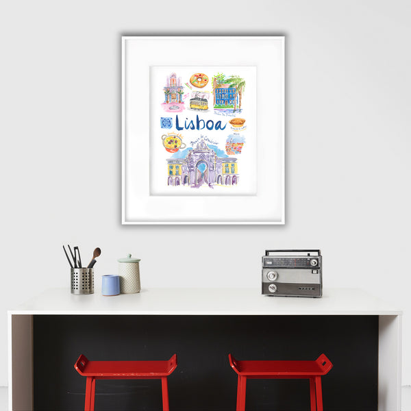 Lisbon watercolor poster - Lisboa
