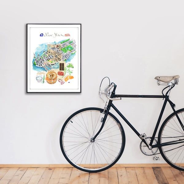 New York City watercolor map with bagel recipe
