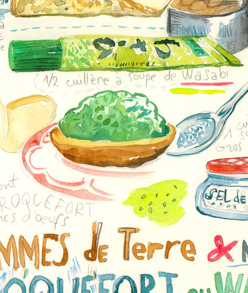Japanese french recipe with wasabi and roquefort - Original watercolor painting