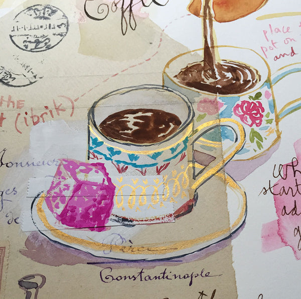 Turkish coffee Original watercolor painting