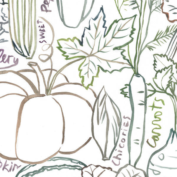 Neutral wall art - Seasonal vegetable print set