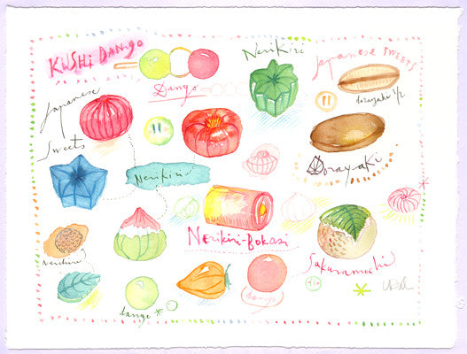 Japanese treats. Original watercolor painting