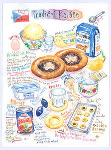Czech Kolache recipe. Original watercolor painting