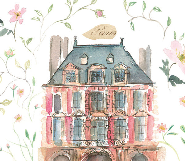 Le Marais - Paris - Place des Vosges watercolor painting