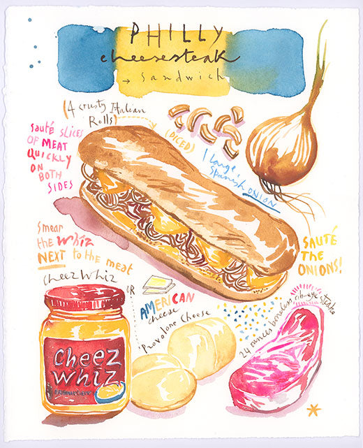 Philly Cheesesteak recipe. Original watercolor painting