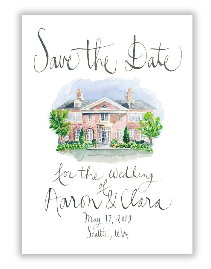 Save the Date watercolor illustration and calligraphy