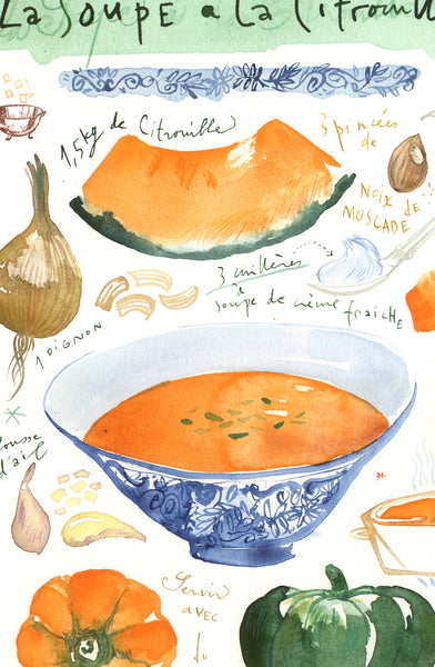 Pumpkin soup illustrated recipe. Original watercolor painting