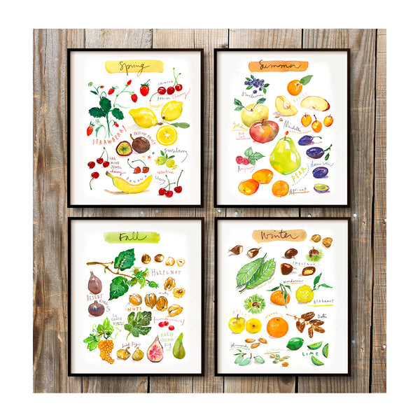 Seasonal fruit print set - In English