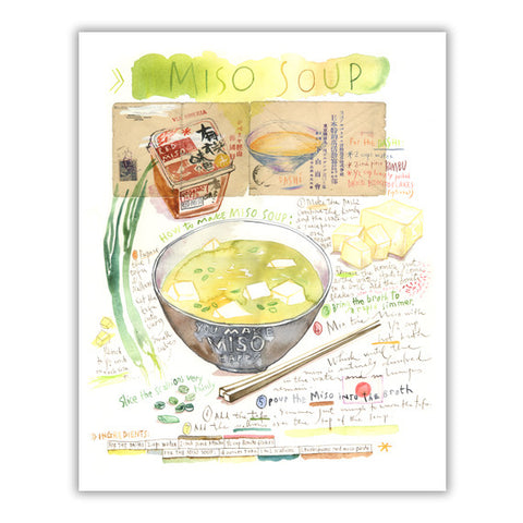 Miso soup recipe - Watercolor painting on japanese vintage letter