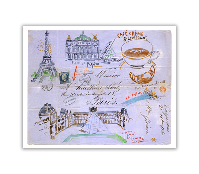 Eiffel Tower, Opera House, Le Louvre and le Café crème - Paris watercolor print