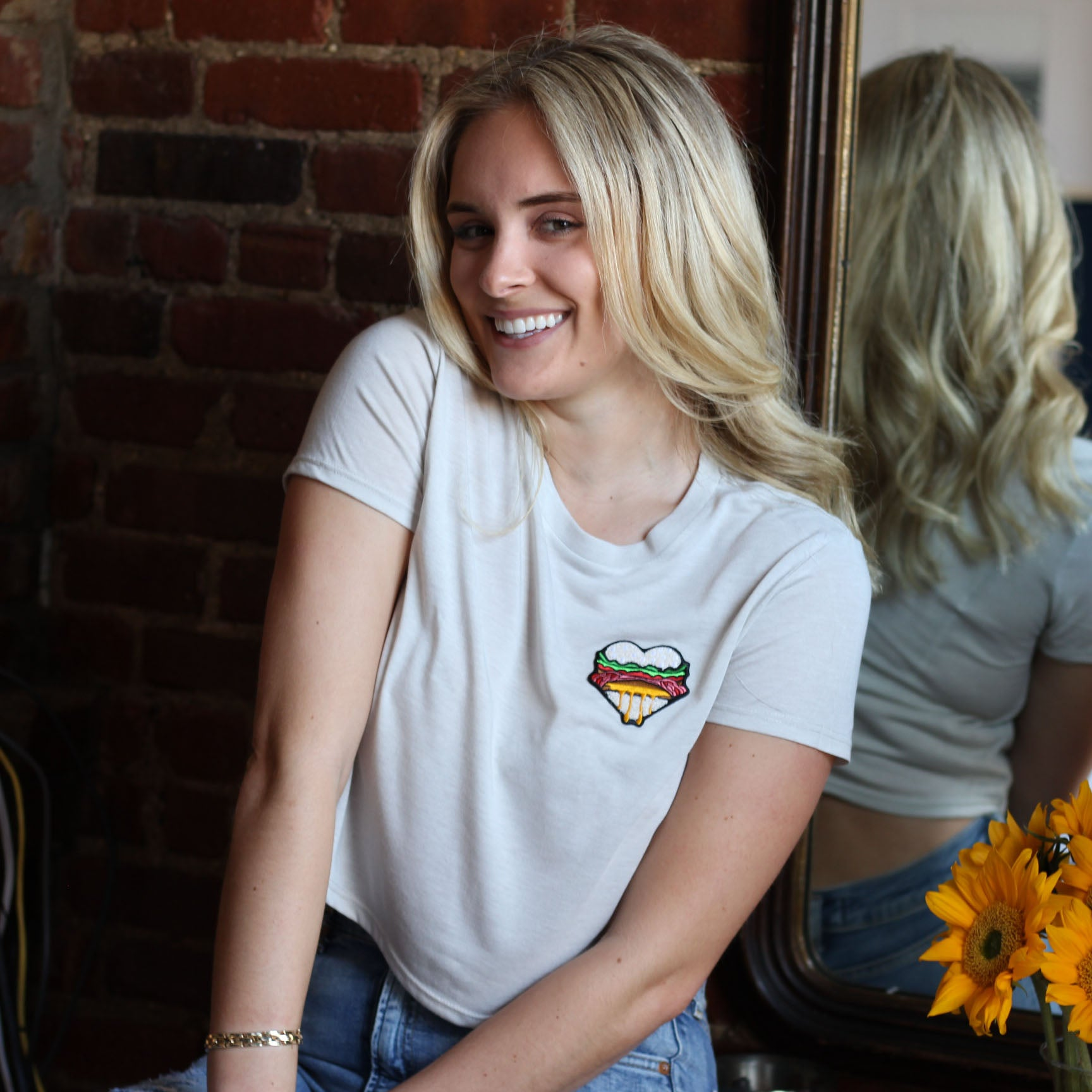 Burger Heart Flowy Cropped Tee
