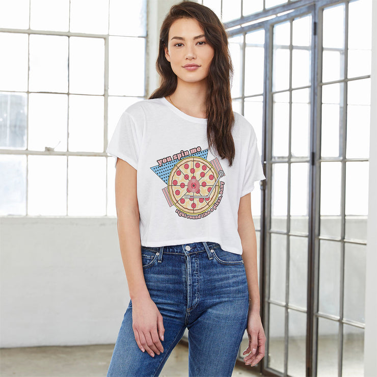 Spin Me Right Round Pizza Boxy Tee