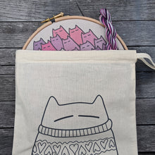 Load image into Gallery viewer, 'Sinister Cats' embroidery kit in berry
