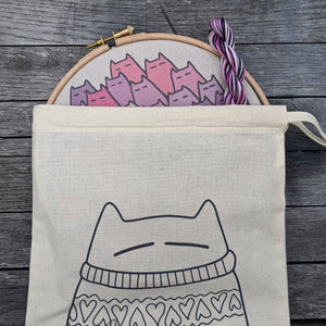'Sinister Cats' embroidery kit in berry