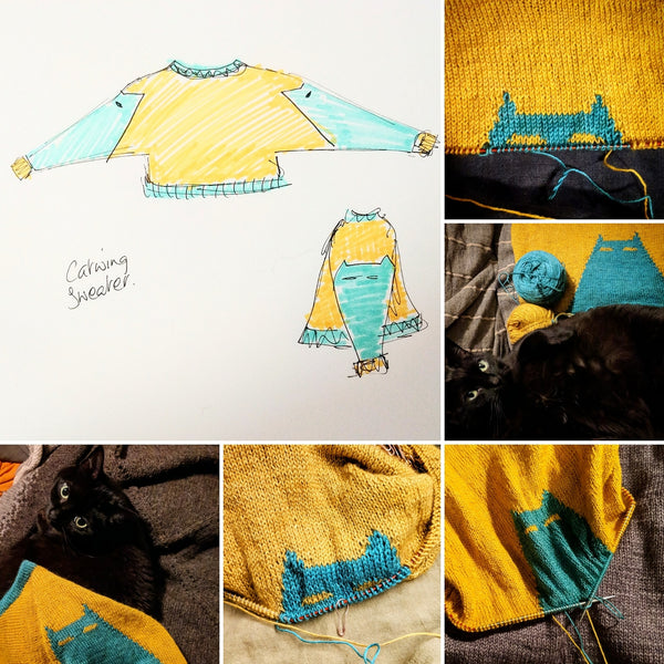 The Catwing Sweater just-add-yarn extra-catty kit - PRE-ORDER