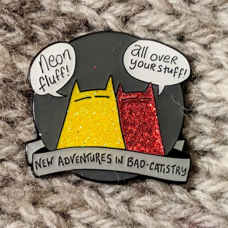 Sinister cat pin - new adventures in badcatistry