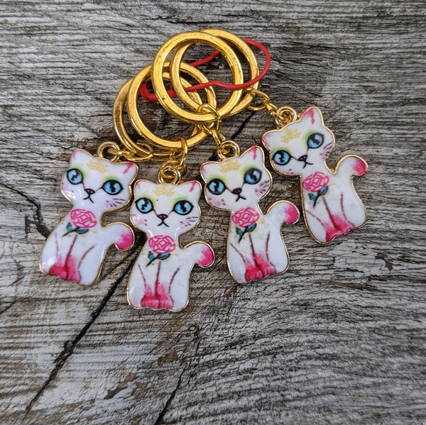 Romantic cat stitchmarkers