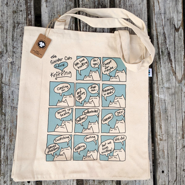 Sinister Cats Love Knitting tote