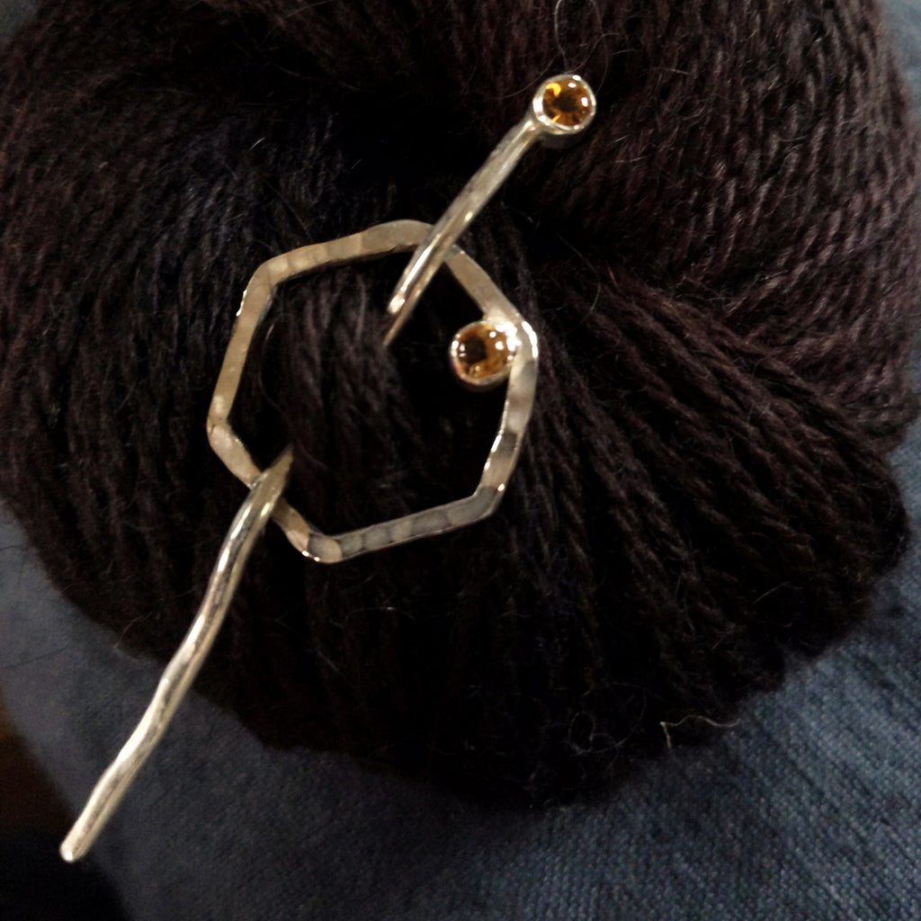 Honeycomb shawl pin