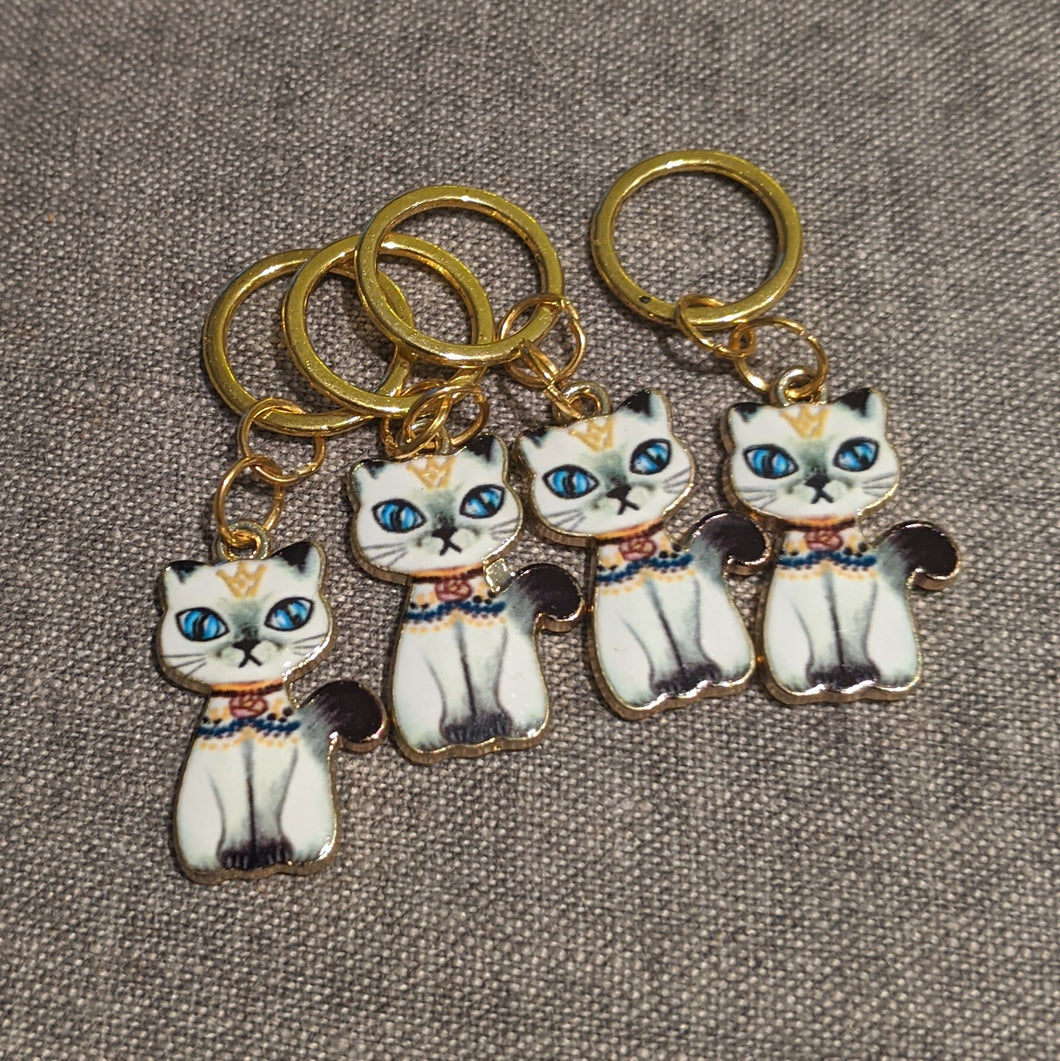 White cat stitchmarkers