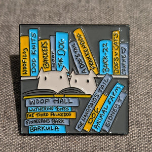 Cats - or dogs! in the library - enamel pin