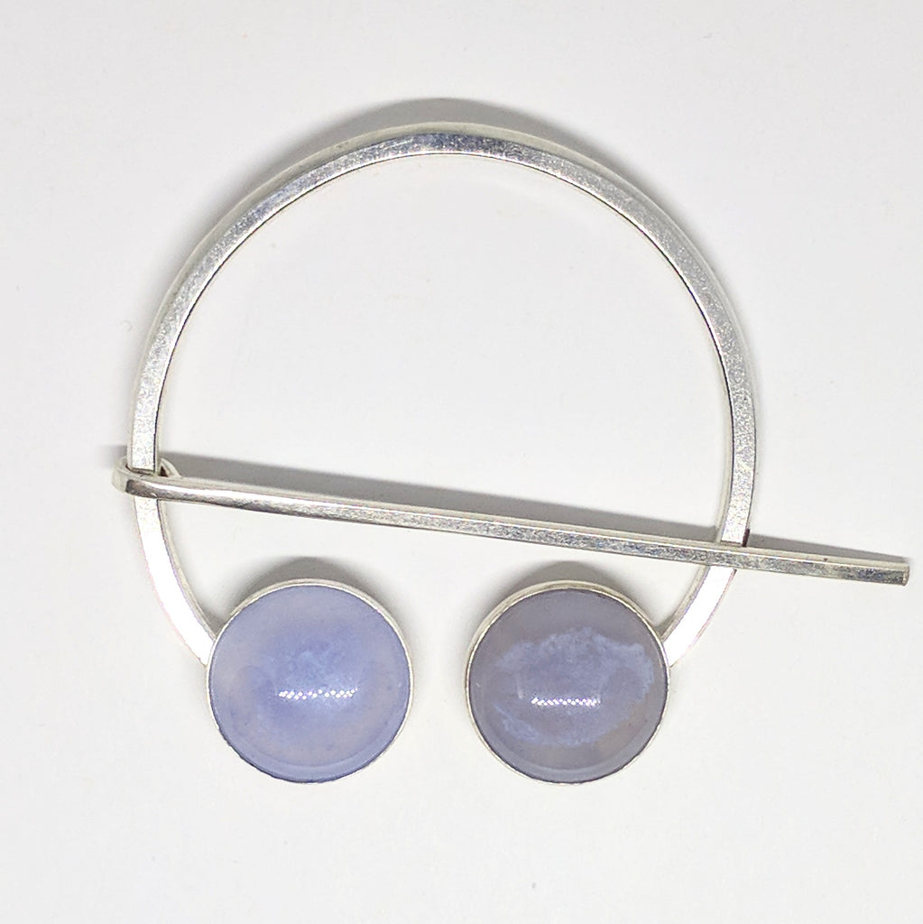 Blue chalcedony penannular pin