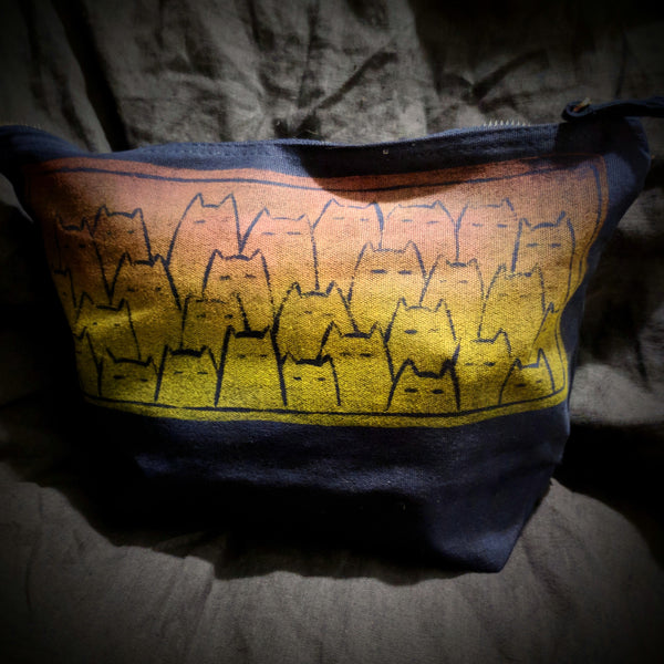 Sinister Cats project bag - sunset on navy