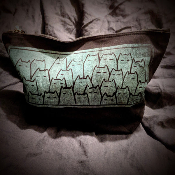 Sinister Cats project bag - mint on black