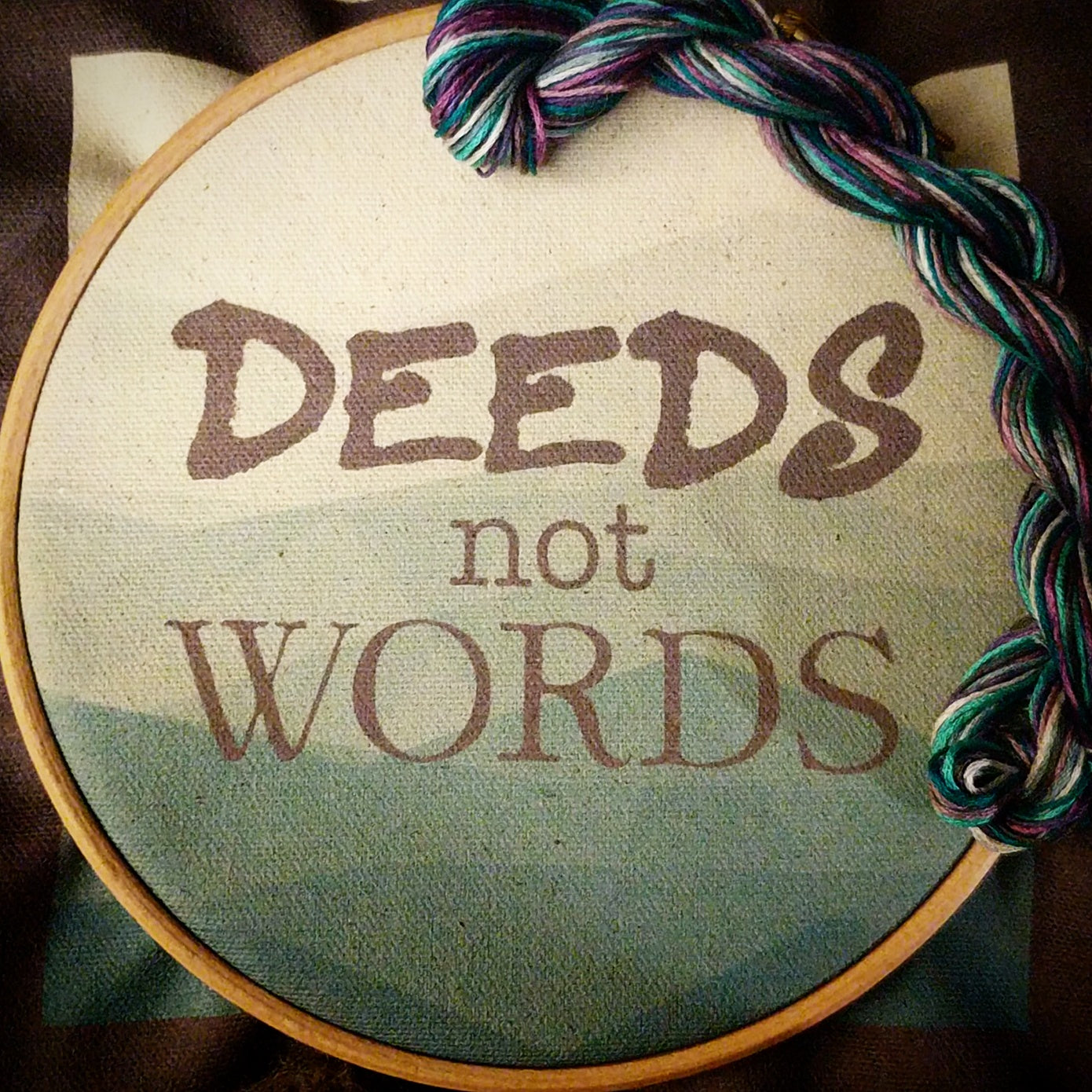 'Deeds not Words' embroidery kit