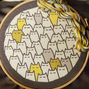 'Sinister Cats' embroidery kit in grellow