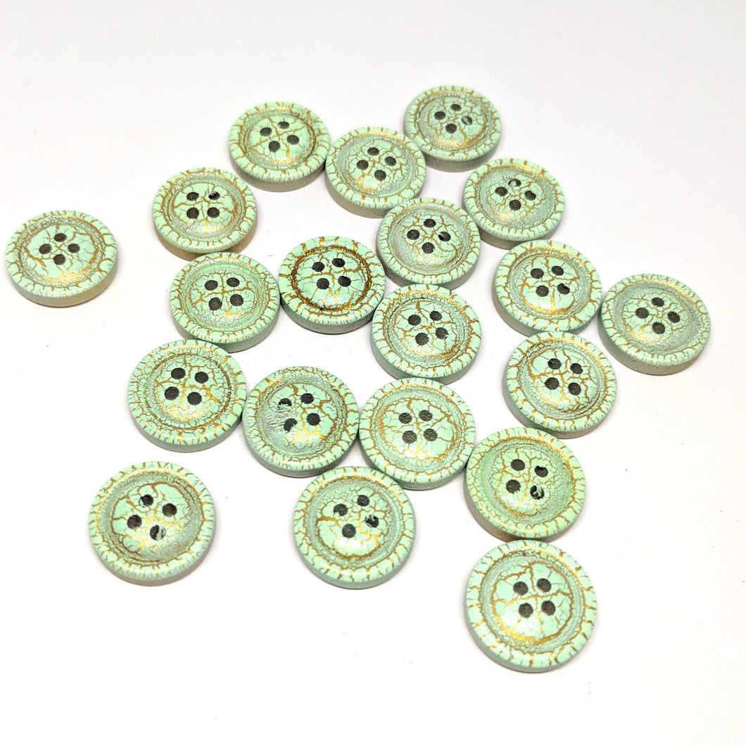 Mint crackle buttons
