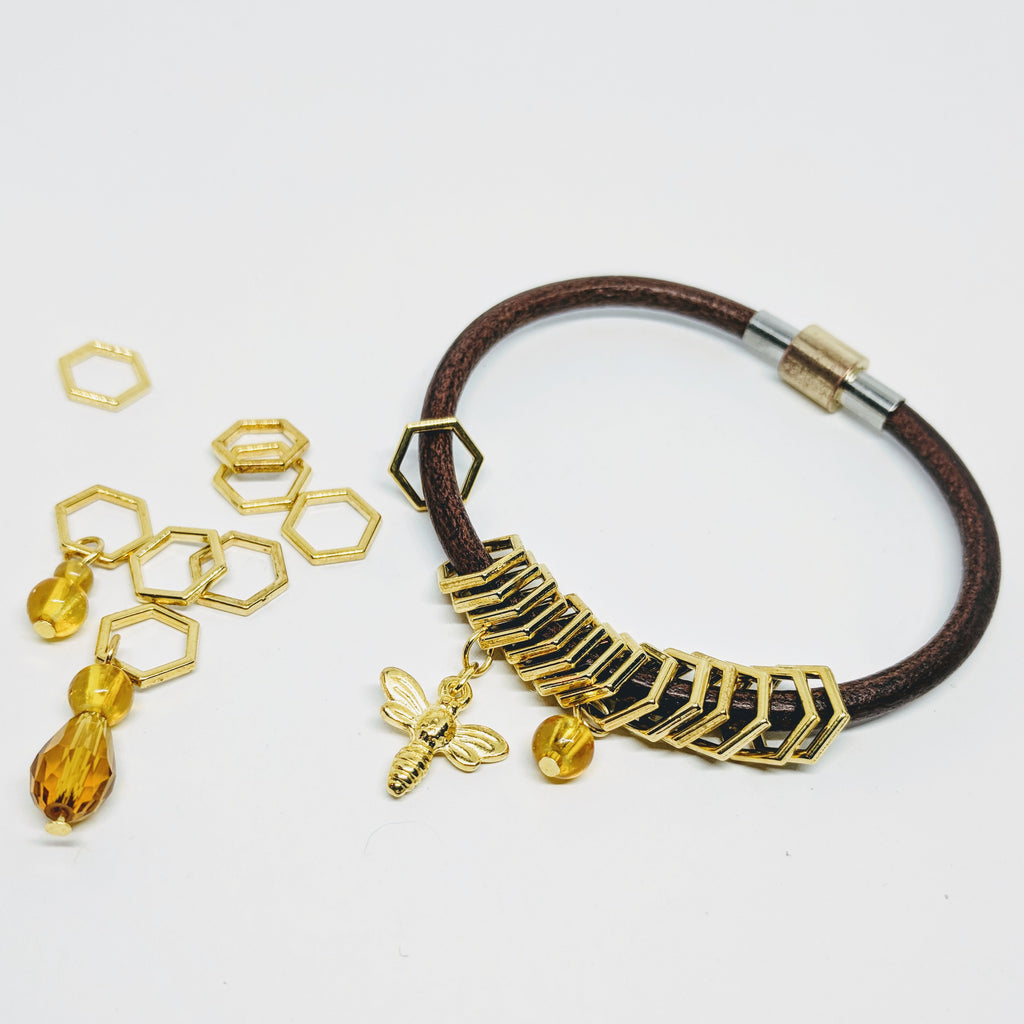 Beekeeper - leather bangle & stitchmarker set