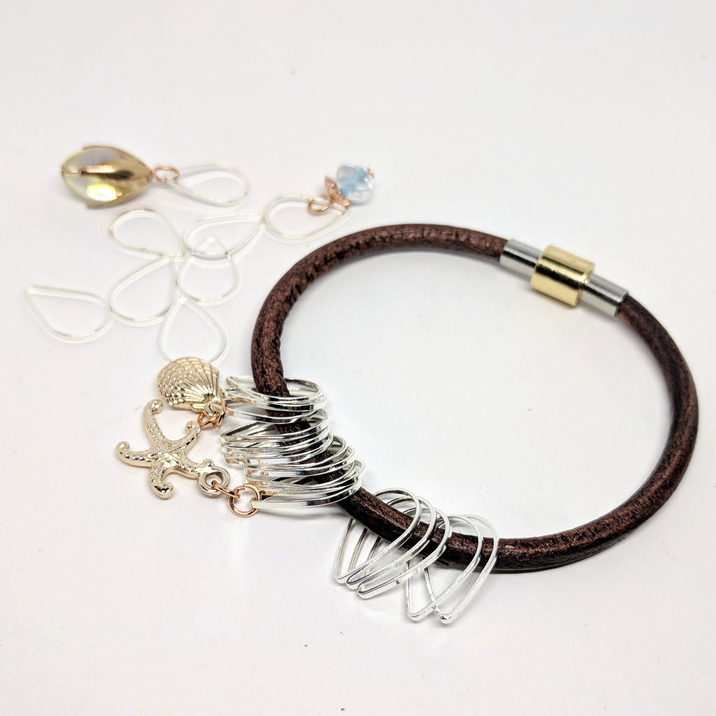 On the beach - leather bangle & stitchmarker set