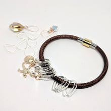 Load image into Gallery viewer, On the beach - leather bangle & stitchmarker set