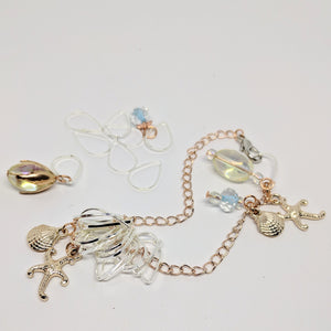 On the beach - charm bracelet & stitchmarker set