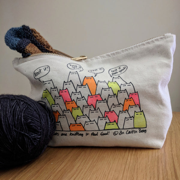 Sinister cats are knitting it real good - project bag