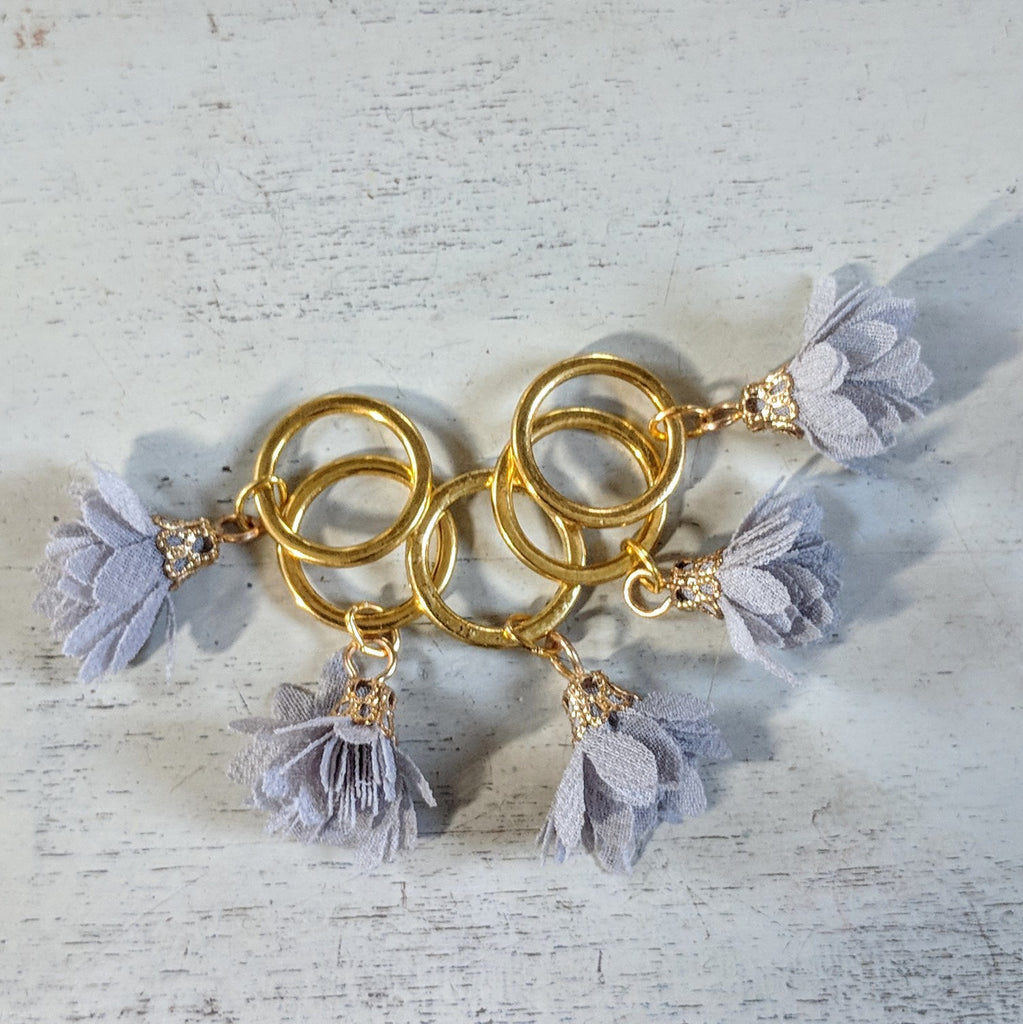 Grey flower stitchmarkers - flower power fund