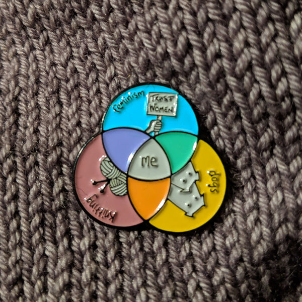 Venn Diagram of Me enamel pin