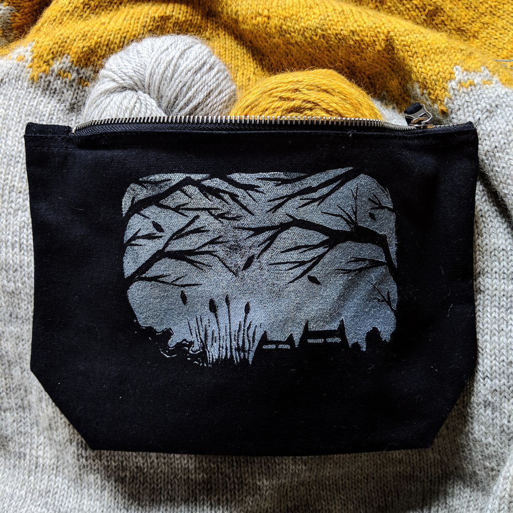 Sinister Cat project bag - creepy moonlight woods