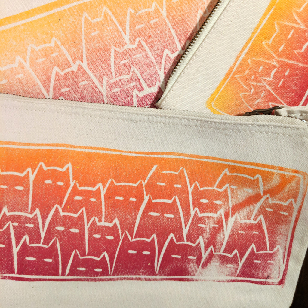 Sinister Cats project bag - sunset on white