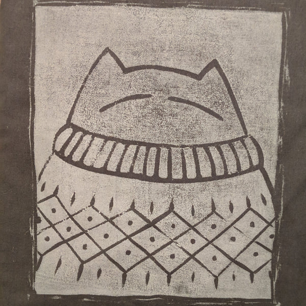 Big bright smug cat sweater sack