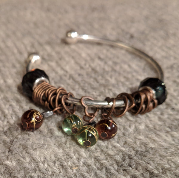 Copper heart stitchmarker bangle - beaded