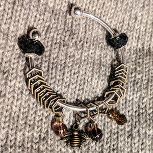 Bronze beekeeper stitchmarker bangle